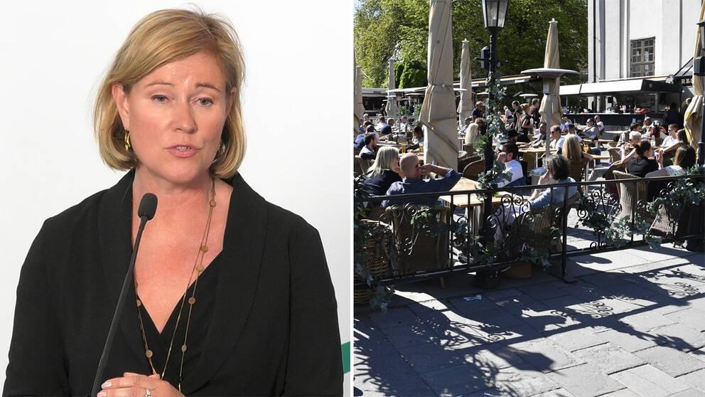 Folkhälsomyndighetens chefsjurist Bitte Bråstad och uteservering.