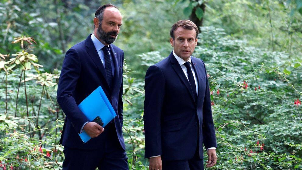Frankrikes premiärminister Édouard Philippe och president Emmanuel Macron.