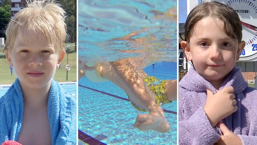 Abbe, Emily och en simbassäng.