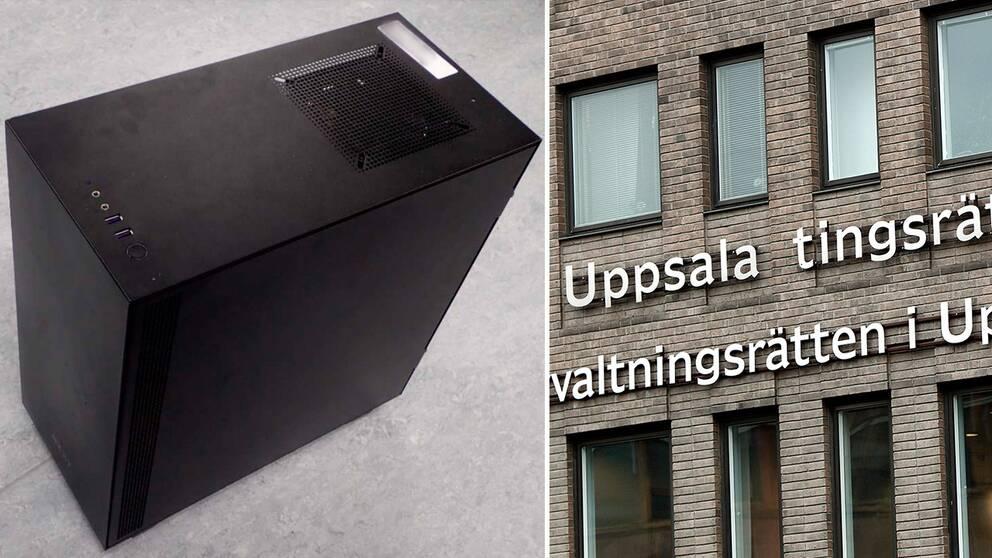 """bild på en stationär dator, samt på fasad med skylt """"Uppsala tingsrätt"""""""