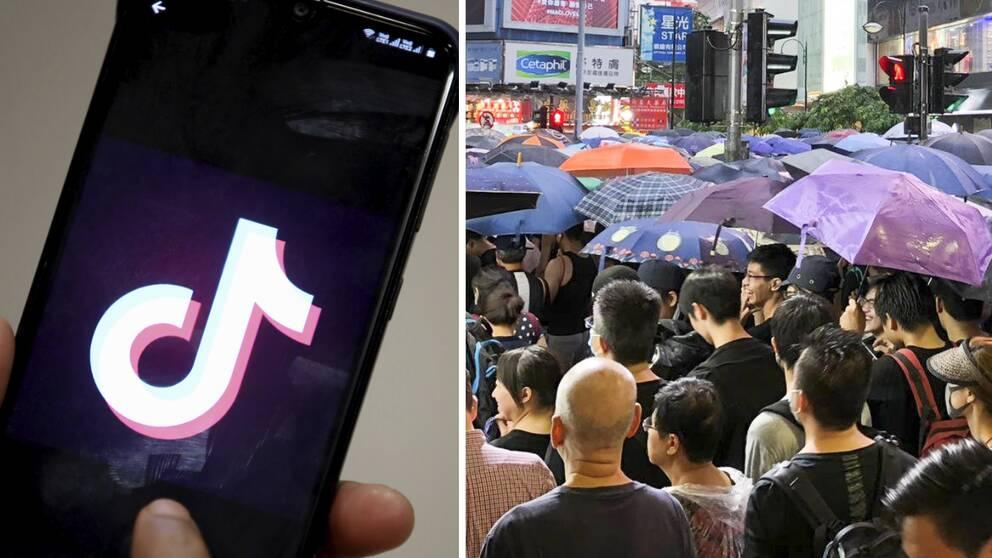 Appen Tiktok kommer inte längre kunna användas i Hongkong.