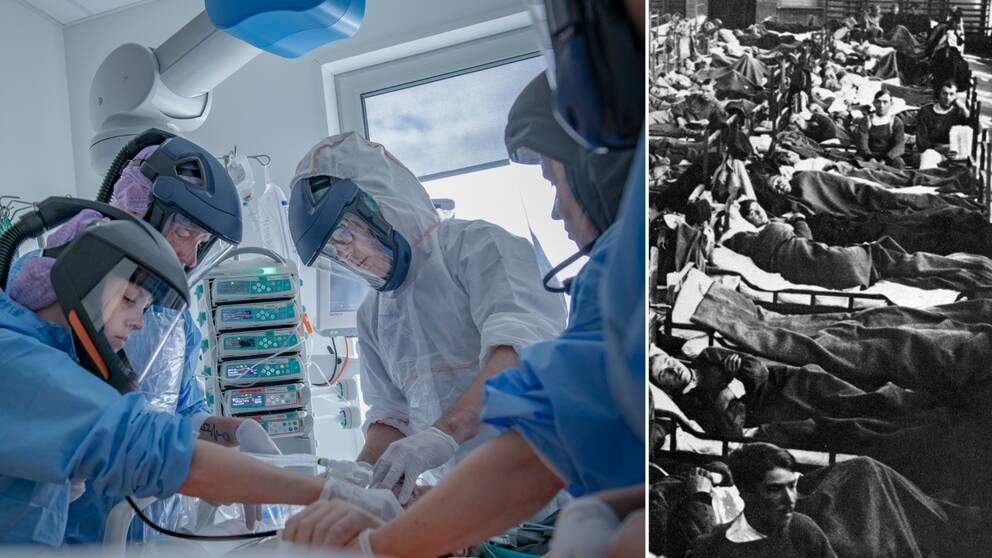 I bilden till vänster har syns fem sjukvårdare iklädda ansiktsmasker. Patienten är kopplad till flera olika maskiner. I den svartvita bilden till höger syns en gymnastiksall full med sängar med patienter.