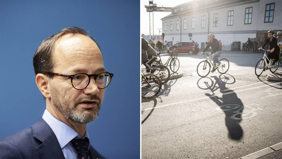 Infrastrukturminister Tomas Eneroth (S) och cyklister.