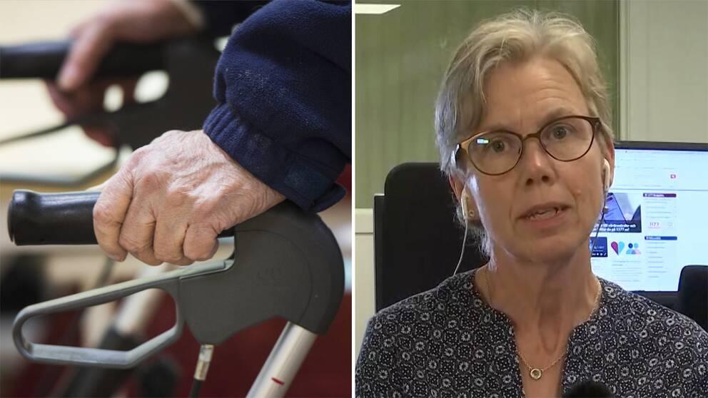 Genrebild på händer som håller i rullator tv och Maria Remén, biträdande smittskyddsläkare i region Sörmland th.