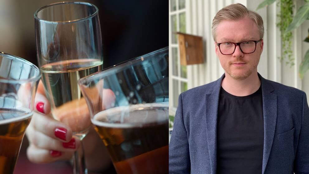 Montage av två bilder. Till vänster glas som skålar, till höger en bild på Kristian Hellström, enhetschef på miljökontoret.
