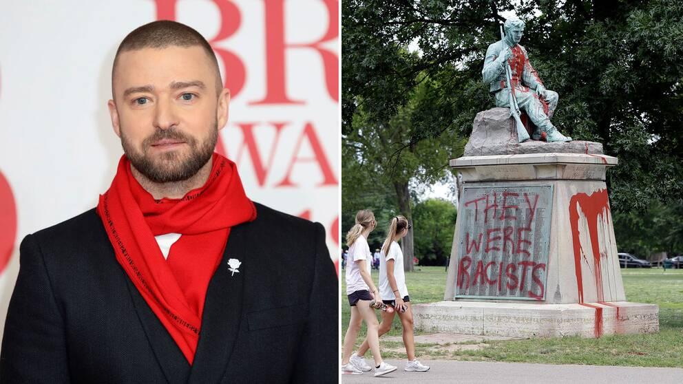 Justin Timberlake ansluter sig till kritikerna som vill att minnesmonumenten för sydstatssoldater och generaler rivs. På bilden ett vandaliserat monument i Nashville, Tennessee.