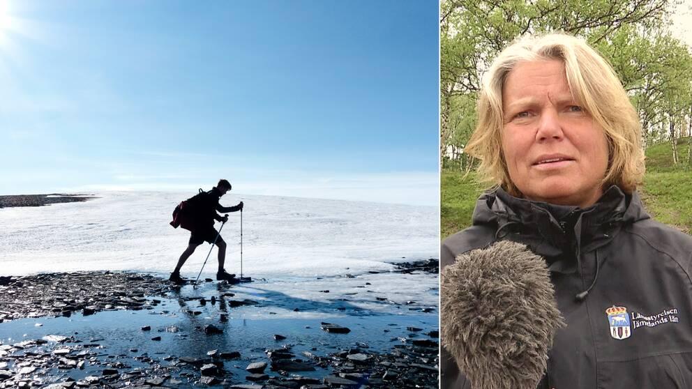 En fjällvandrare på fjället och Wictoria Wadman från länsstyrelsen i Jämtland