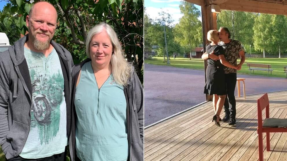 Dansarrangörerna Magnus Wallster och Ulrika Norell står bredvid varandra vid en syrénbuske. Ett par dansar till höger i bild.