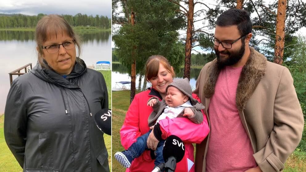 En kvinna intervjuas vid brygga och till höger en barnfamilj där mamman håller sin smågråtande son i famnen