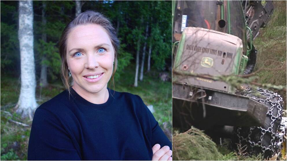 Maria Johansson, forskare Luleå tekniska universitet samt skogsmaskin