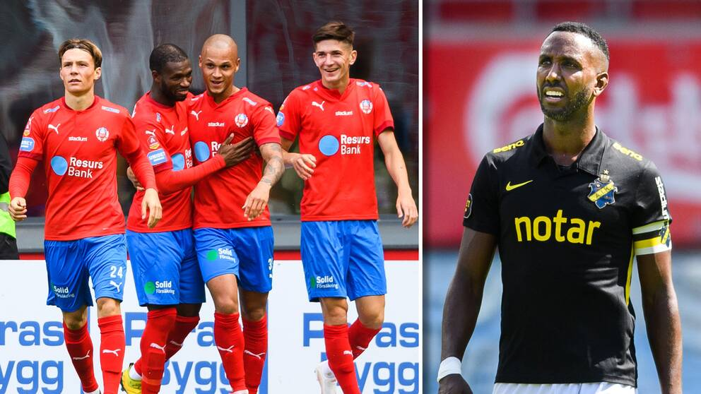 Helsingborg jublar efter 2-0-målet och AIK:s Henok Goitom ser förtvivlad ut.
