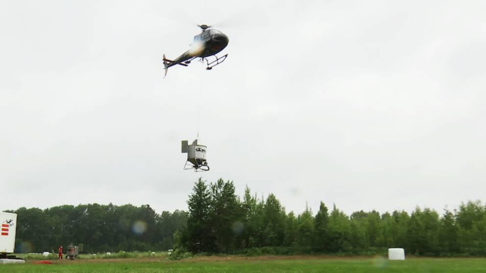 Helikopter lyfter för att sprida bekämpningsmedel