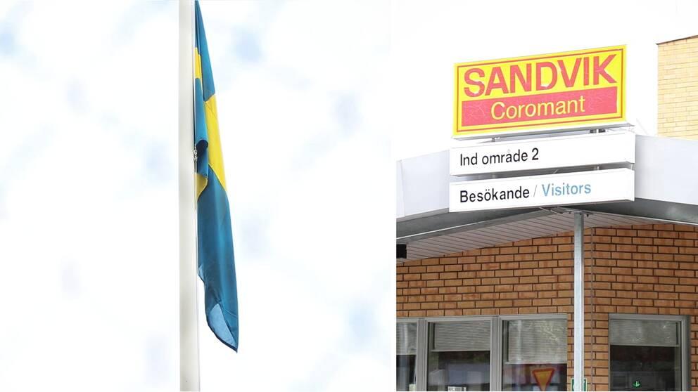 Flaggan på halv stång utanför Sandvik Coromant i Gimo.