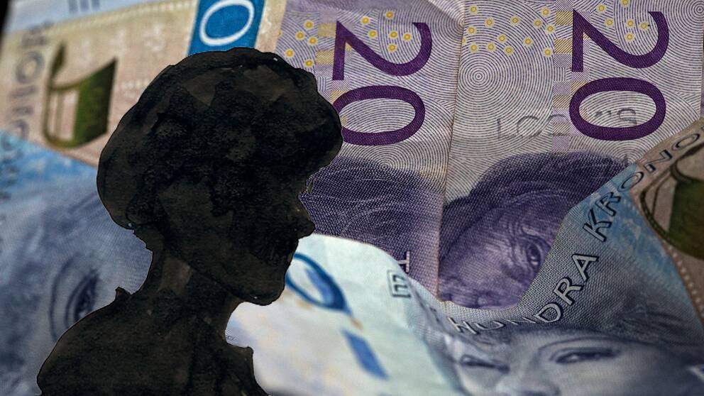 kvinna i silhuett med pengar i bakgrunden