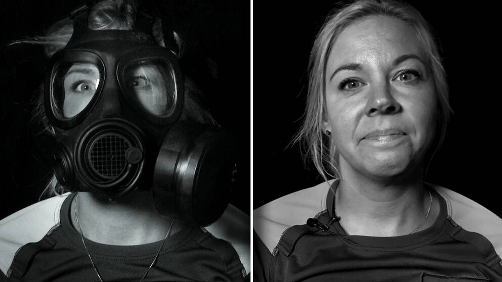 Ett kollage, en bild där en ljus kvinna bär skyddsmask och en bild utan.
