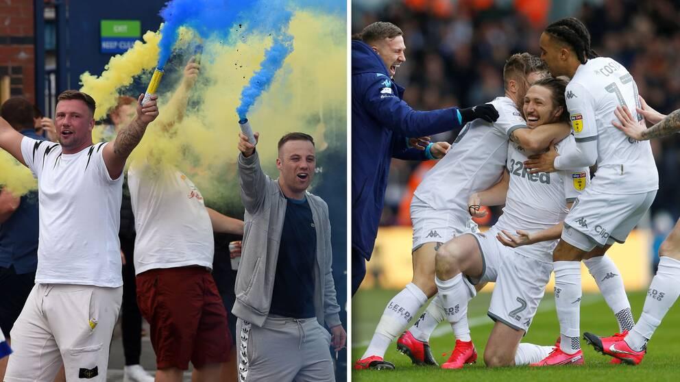 Fansen firade utanför Elland Road när klassiska Leeds blev klara för Premier League.