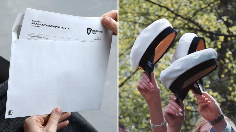 Genrebild. Ett kuvert med avgångsbetyg och händer som sträcker upp studentmössor.