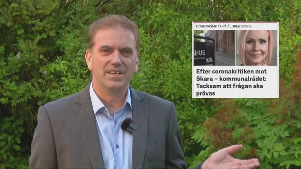 Bosse Carlqvist, SVT:s reporter i Skara, framför grön växtlighet