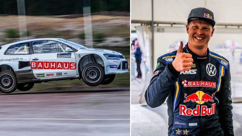 Två bilder. Till vänster Johan Kristofferssons vitmålade rallycrossbil. Till höger Johan Kristoffersson som gör tummen upp.
