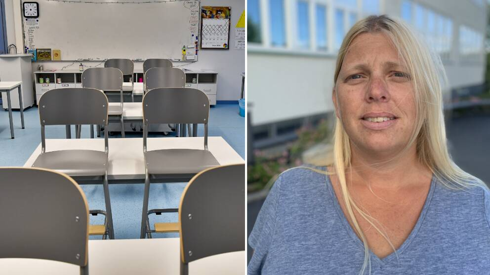 Ett tomt klassrum med gråa stolar. En blond kvinna med blå t-shirt.