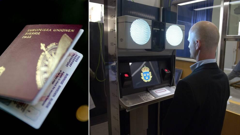 Två bilder. Till vänster ett svenskt pass. Till höger en man som blir fotograferad av en maskin på en passexpedition.