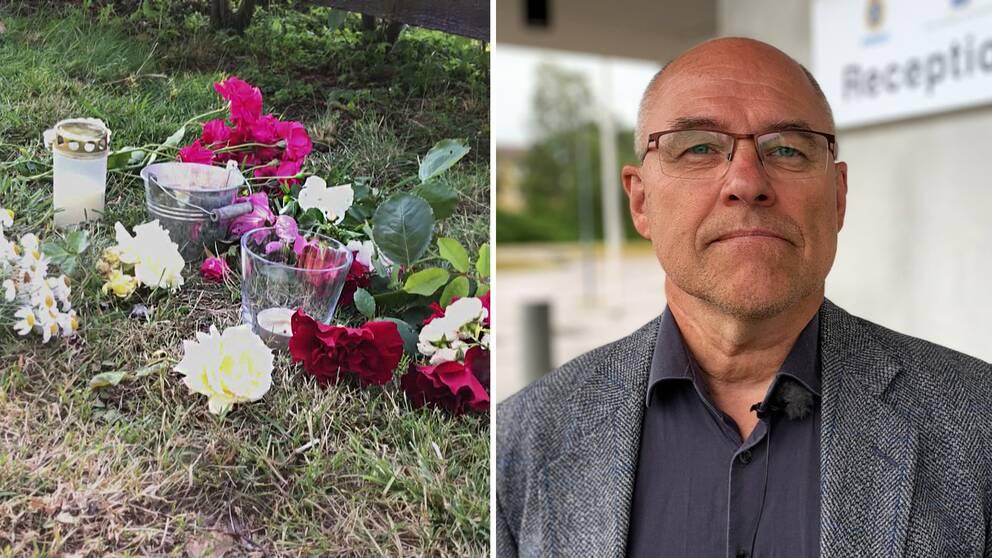Blommor vid olycksplatsen i Färjestaden. Till höger kammaråklagare Kjell Jannesson.
