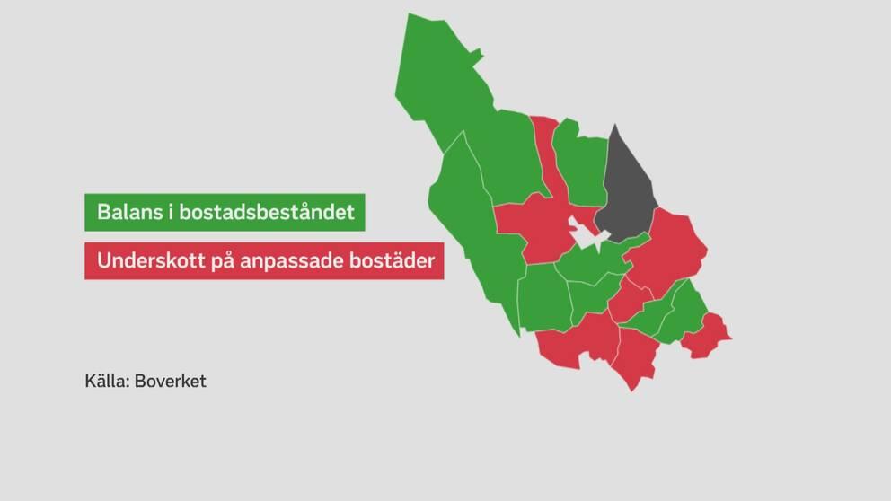 Karta som visar de sex kommunerna med underskott markerat i rött.