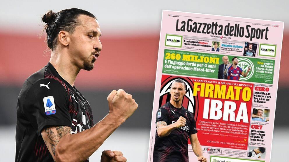 Zlatan hyllas i italiensk media efter segern.
