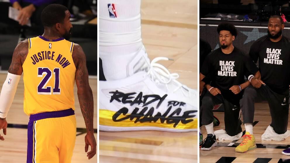 Flera budskap mot sociala orättvisor syntes när NBA återstartade.