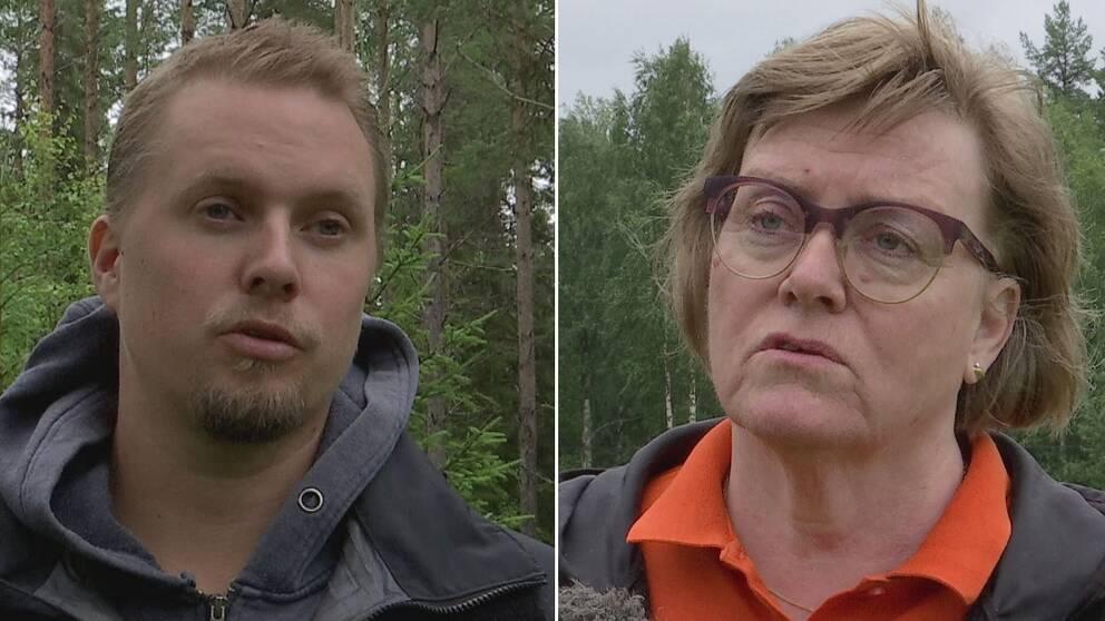 Dubbelbild. Till vänster bild på en ung, blond man med skägg i en skog. Till höger en kvinna med cendréfärgat hår och glasögon