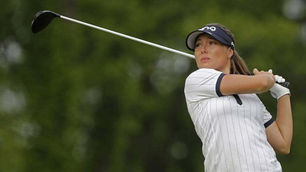 Linnéa Johansson under en tävling i juni 2018. Arkivbild.