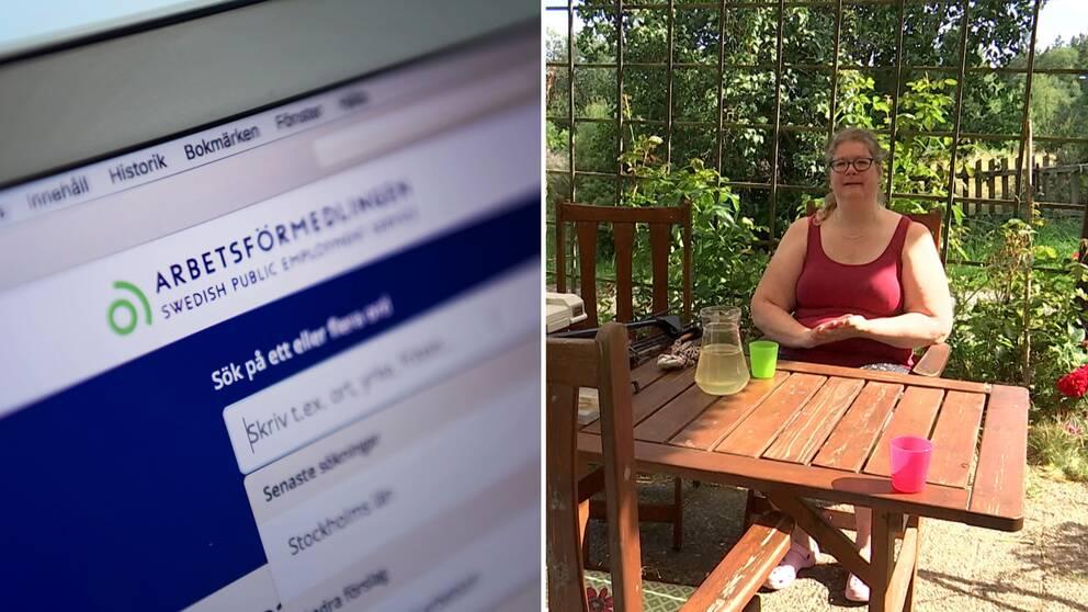 Arbetsförmedlingens hemsida. Till höger Ulrica Karlsson på sin veranda i Ronneby.