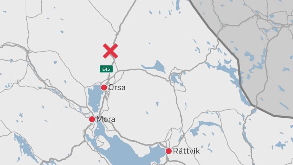 grafik-karta med markerade platser