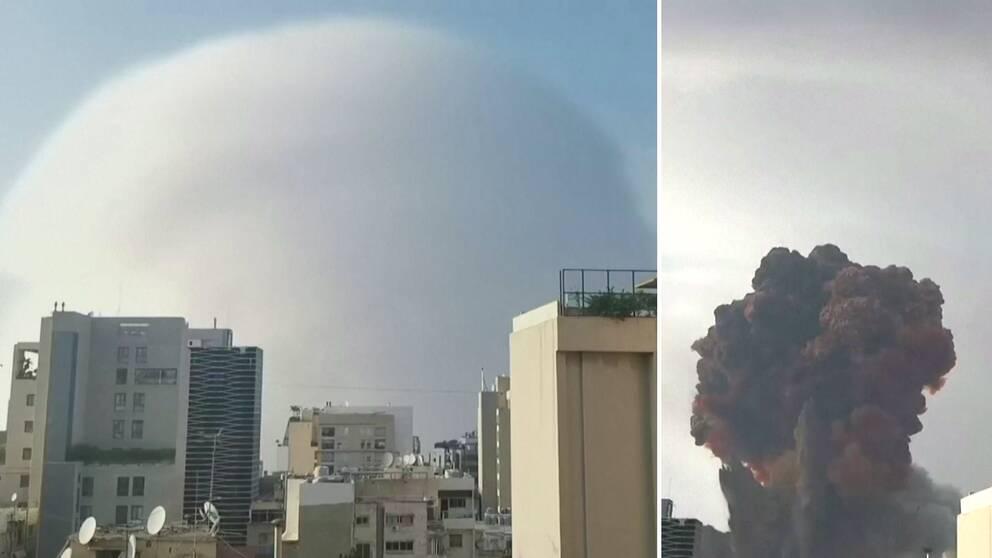 Explosionen skapade ett svampmoln som täckte himlen.