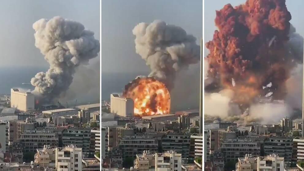 Se bilderna från Beiruts hamnområde när jätteexplosionen inträffar