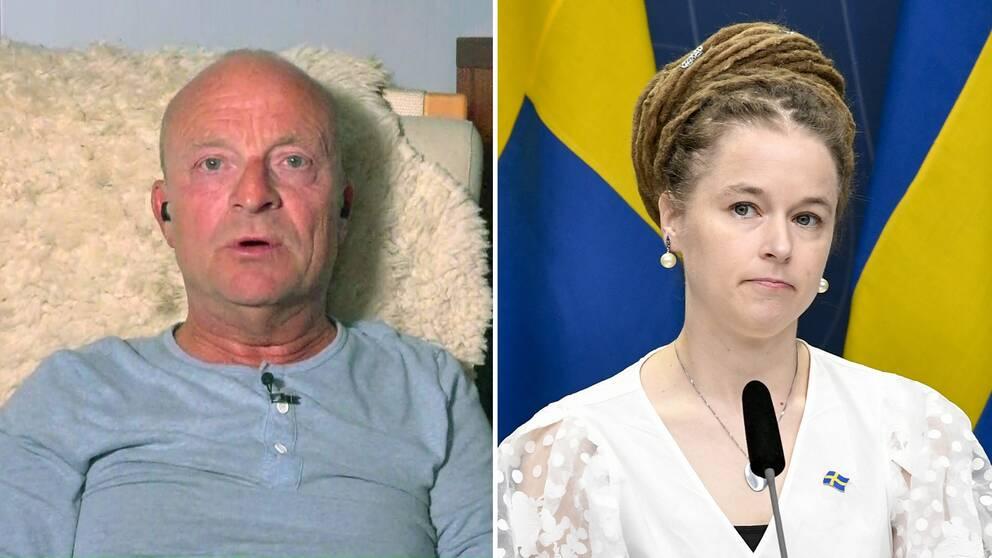 Jonas Gardell, till höger kulturminister Amanda Lind (MP).