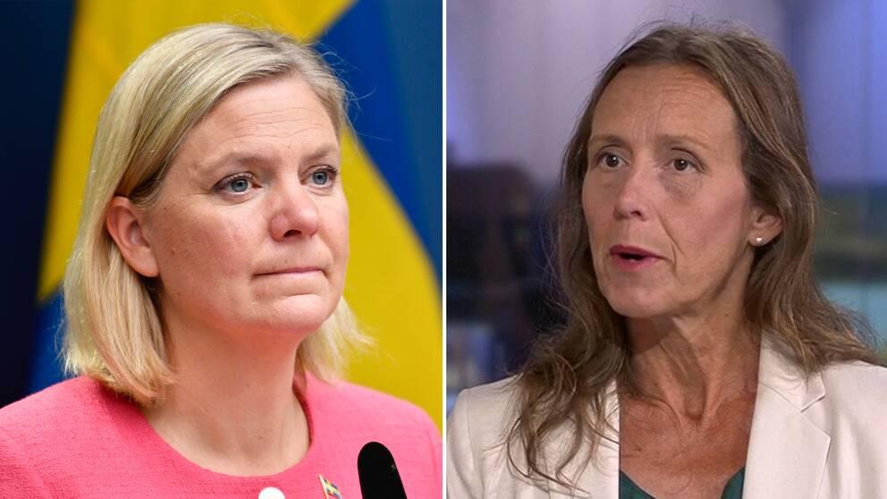 Finansminister Magdalena Andersson (S). SVT:s ekonomireporter Kristina Lagerström.