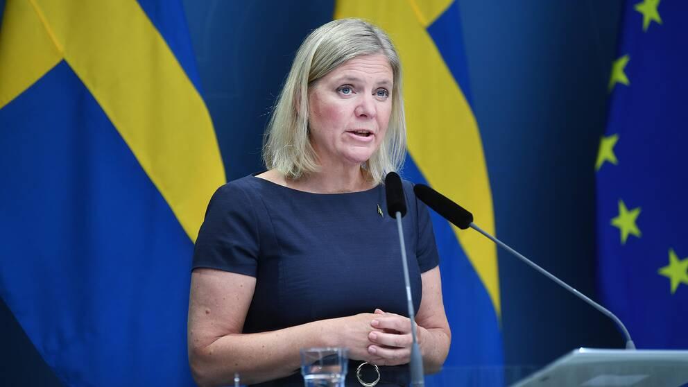 Finansminister Magdalena Andersson (S) håller regeringens pressbriefing på onsdagen.