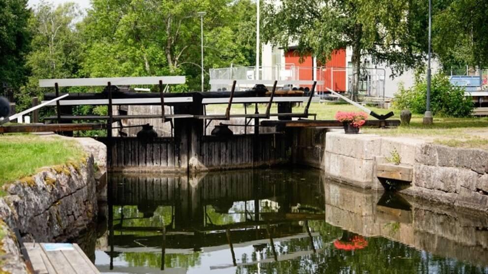 Kinda kanal. Hackefors sluss i Linköping.