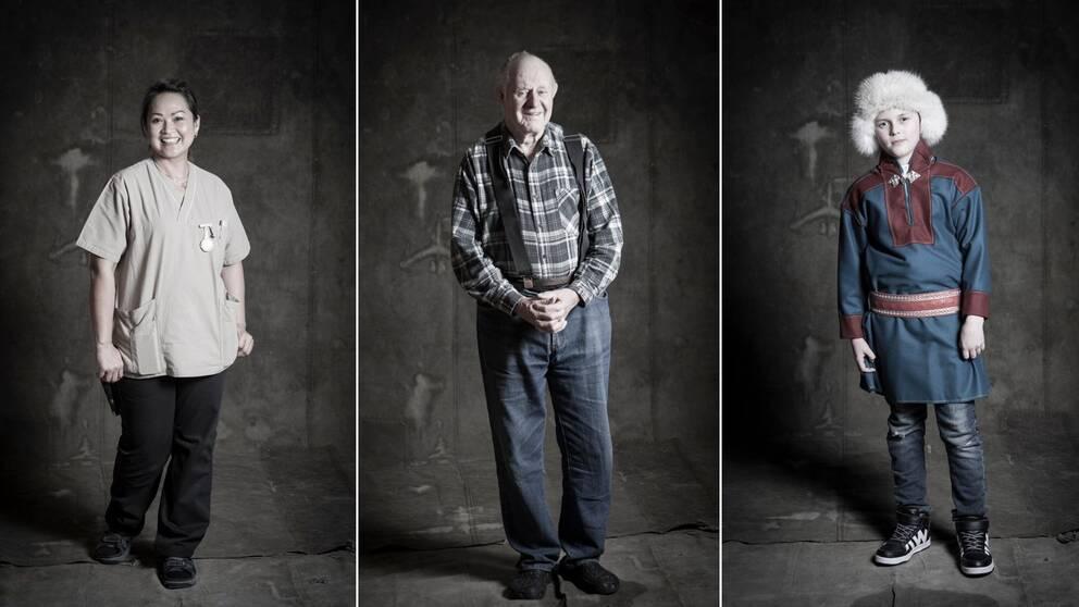 trebild. Längst till vänster kvinna i vårdkläder, i mitten äldre man med rutig skjorta, jeans och hängslen. Längst till höger pojke med pälsmössa, kolt, jeans och tennisskor.