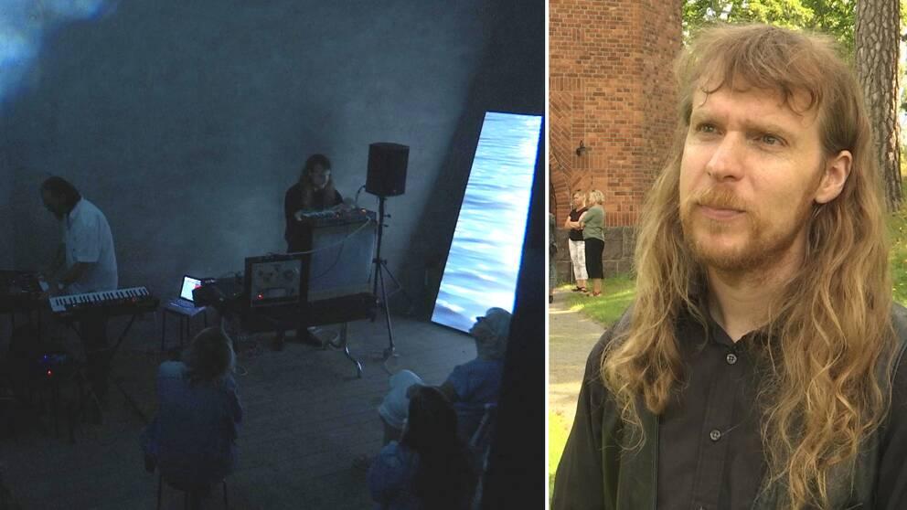 Två bilder. Till vänster en bild från konserten i vattentornet, till höger Jon Ekström.