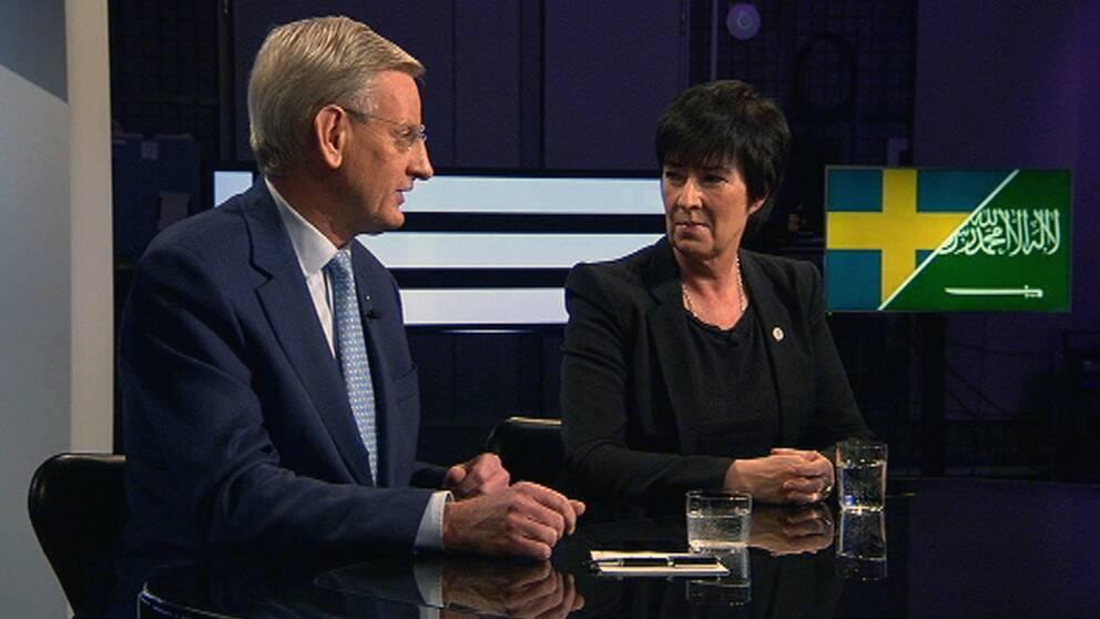 Carl Bildt och Mona Sahlin möttes i söndagens Agenda