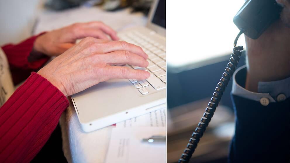 En äldre kvinna har händerna på ett tangentbord till en bärbar dator.