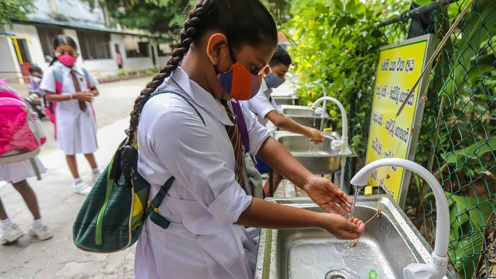 Elever i Sri Lankas huvustad Colombo som tvättar händerna när skolan ska öppna efter att ha varit stängd på grund av covid-19.