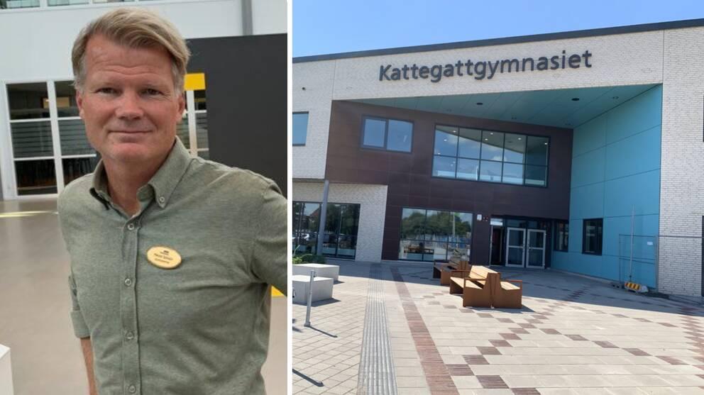 Gymnasiechefen på Kattegattgymnasiet Rikard Sjödahl förklarar hur de ska hantera skolstarten.