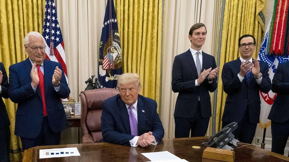 USA:s president Donald Trump vid presentationen av det nya fredsavtalet.