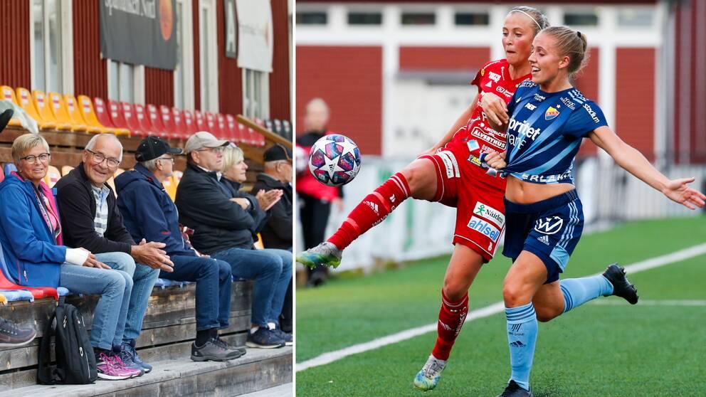 Publik vid onsdagens fotbollsmatch i damallsvenskan mellan Piteå IF DFF och Djurgårdens IF FF på LF Arena i Piteå. John var först att bli insläppt.