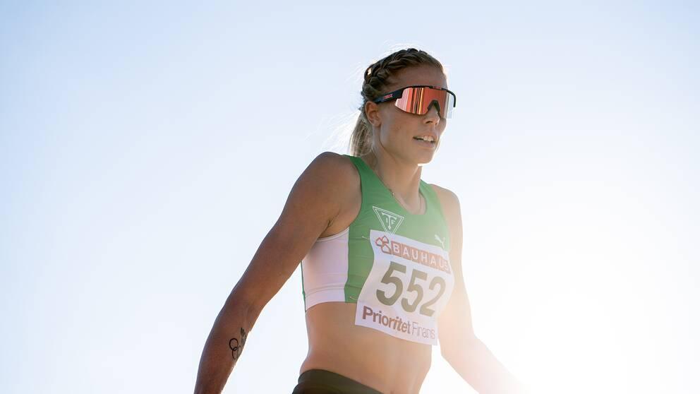 Erika Kinsey, Trångsviken IF, jublar under damernas final i höjdhopp under friidrotts-SM.