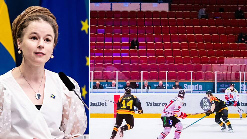 Hockeyförbundet har samtalat med Idrottsminister Amanda Lind om hur svensk ishockey ska få in publiken