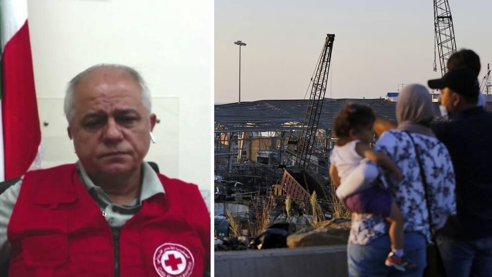 Georges Kettaneh generalsekreterare för Röda Korset i Libanon. Till höger står en familj och tittar ut över förödelsen i Beirut.